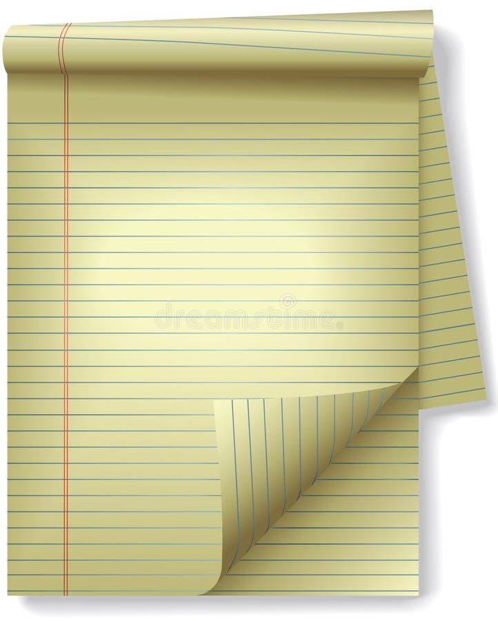 Yellow Legal Pad Corner Paper Page Curl Spotlight vector illustration