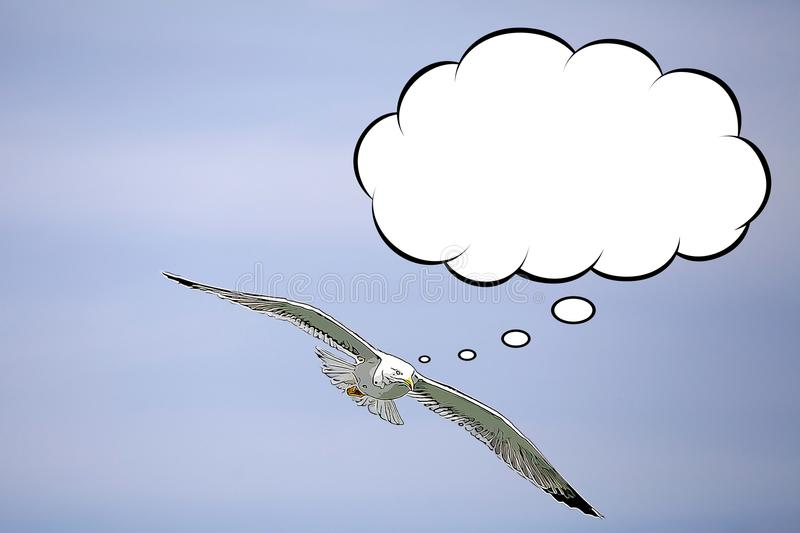Yellow-legged gull cartoon. Is flying in the sky with a thought bubble vector illustration