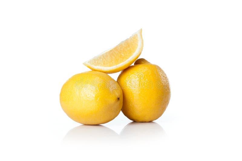Yellow lemon. Isolated on white background royalty free stock photo
