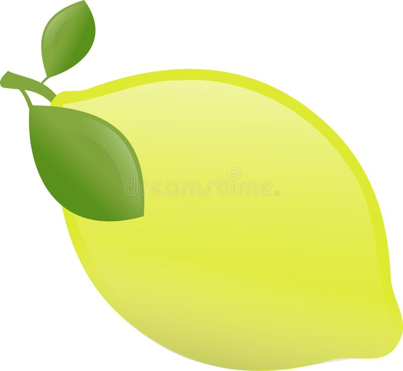 Yellow lemon with two leaves royalty free stock photography