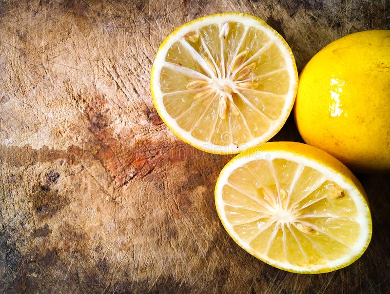 Yellow lemons are ripe, ready for cooking. One kind of citrus fruit. royalty free stock photography