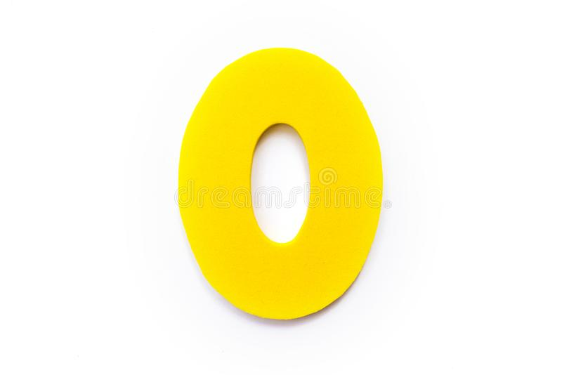 Yellow Letter O or Zero. Over a white background stock images