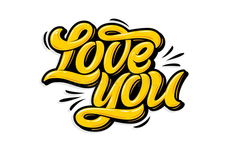 Yellow Letters Love You On White Isolated Background. Modern ...