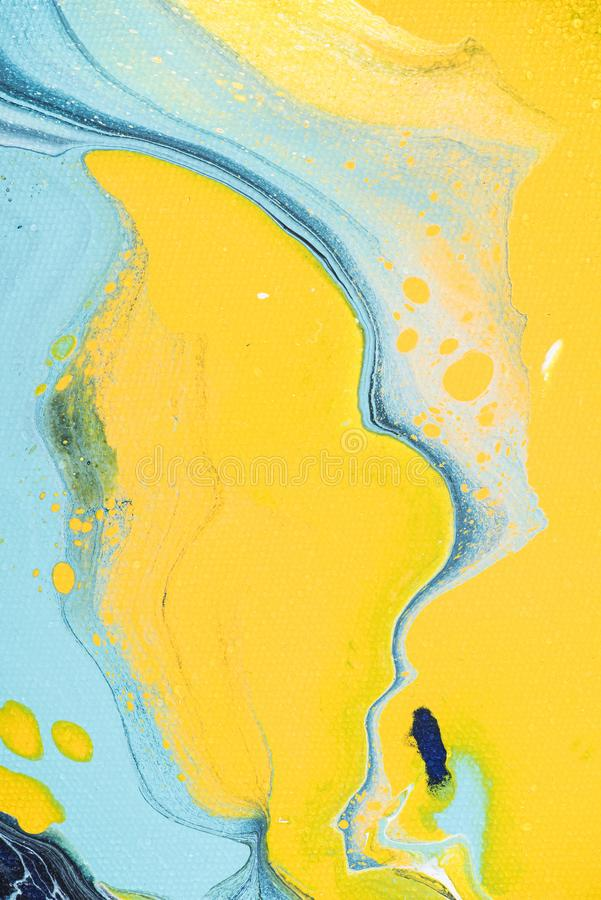 yellow and light blue acrylic painting as abstract royalty free stock photos