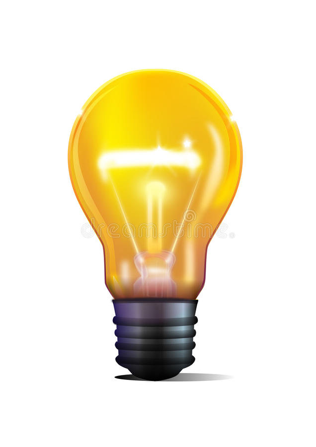 3D yellow light bulb royalty free illustration
