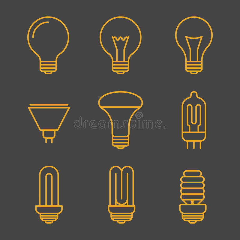 Yellow light bulbs outline icons royalty free illustration