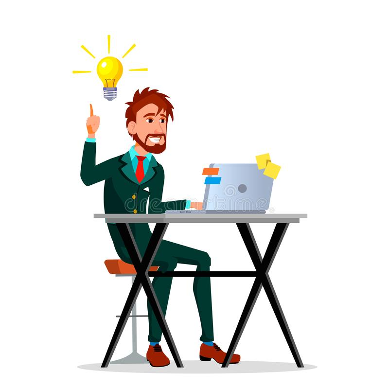 Yellow Light Bulbs Pouring From Head Of Businessman Working At Laptop Vector Flat Cartoon Illustration royalty free illustration