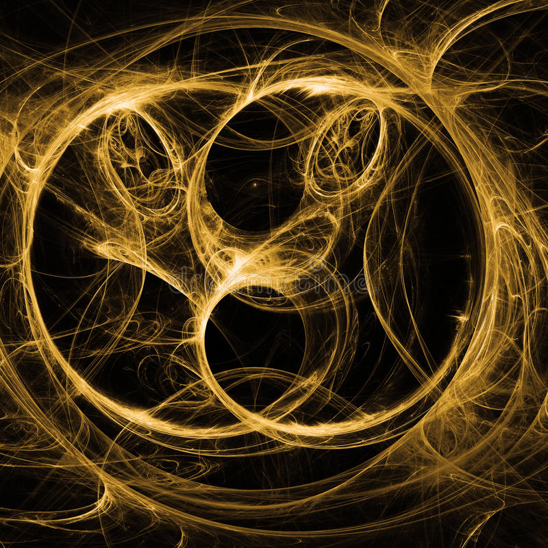Yellow Light Waves Fractal Art With Shining. And Shadow Gradient stock illustration