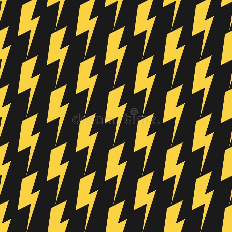 Yellow lightnings black vector seamless pattern stock illustration