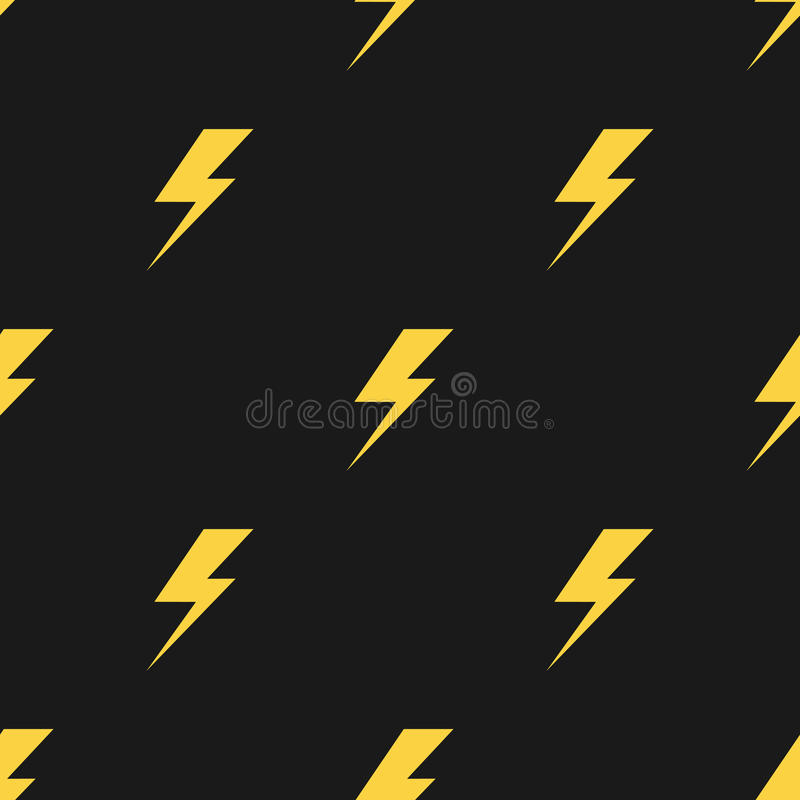Yellow lightnings black vector seamless pattern royalty free illustration