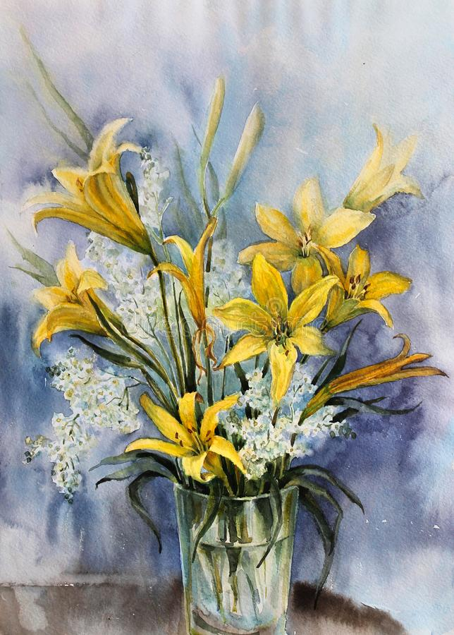Yellow lilies in a glass vase. Flower arrangement. Bouquet of yellow field lilies in a glass vase. Watercolor royalty free illustration