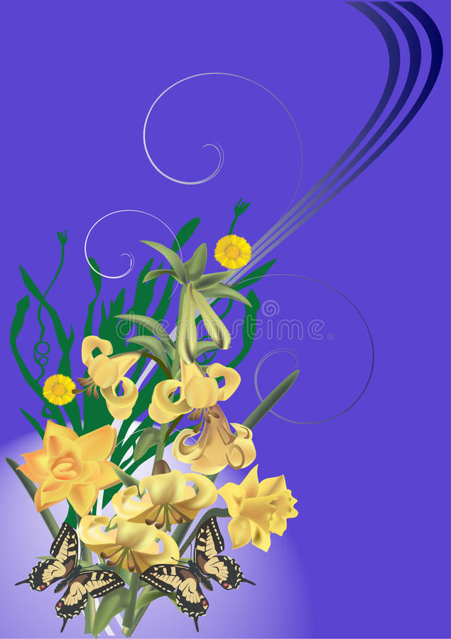 Download Yellow Lily And Butterflies On Blue Stock Vector - Image: 18051519
