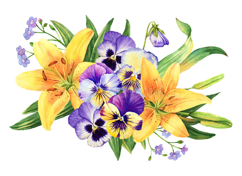 Yellow lily and pansy flower watercolor bouquet. Isolated vector illustration