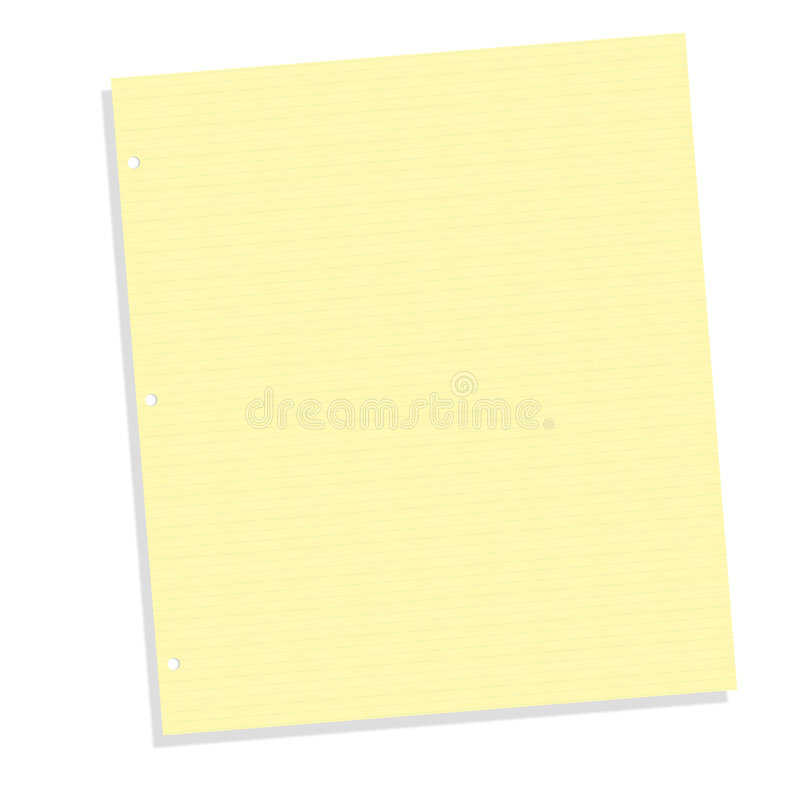 Yellow Lined Notebook Paper royalty free stock photo