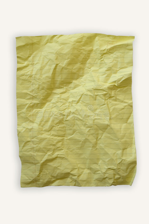 Yellow lined paper. Crumpled yellow paper. Insert your own text stock photo
