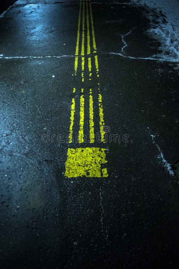 Yellow lines to infinite. Are some yellow line for blind people royalty free stock photo