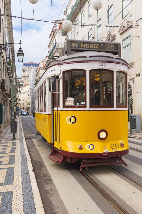 Yellow Lisbon tram 28 royalty free stock photo