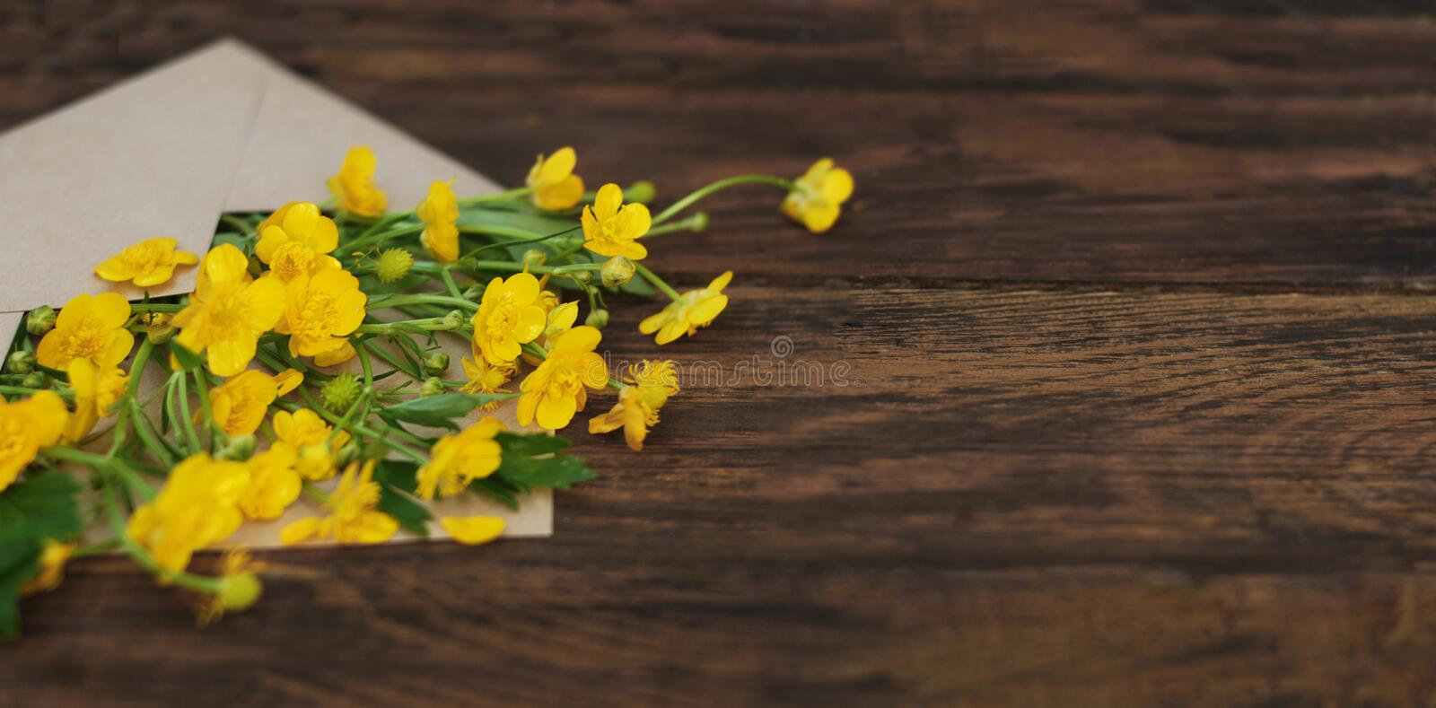Yellow Little Flowers in Envelope Rustic Wooden Background Banner Flat Lay. Yellow Little Flowers in Envelope Rustic Wooden Background Banner royalty free stock photos