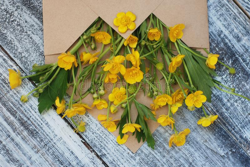 Yellow Little Flowers in Envelope Rustic Wooden Background Flat Lay. Yellow Little Flowers in Envelope Rustic Wooden Background royalty free stock photography