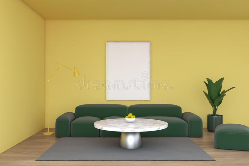 Yellow living room, green sofa and poster vector illustration