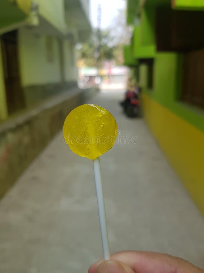 THE YELLOW LOLIPOP stock photo