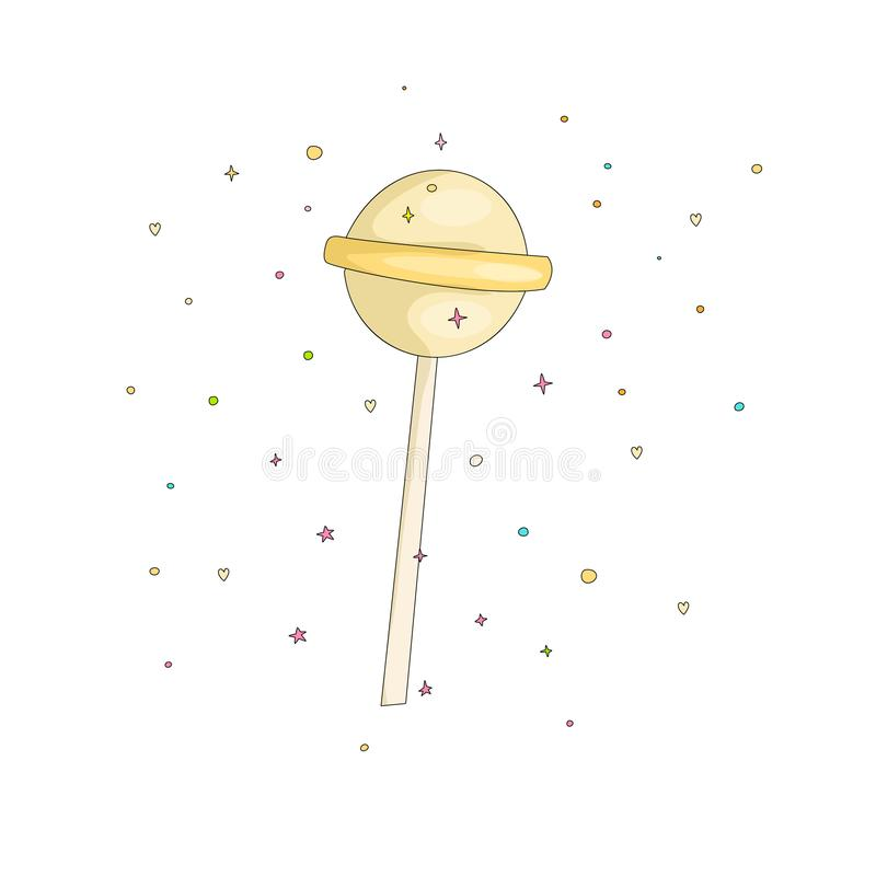 Yellow lollipop fun cartoon vector icon. Sweet round lollypop cartooning illustration with decoration on white. Background. Cartoon candy on the stick icon royalty free illustration