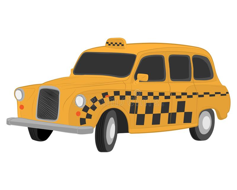 Yellow london taxi car vector drawing illustration royalty free stock photo