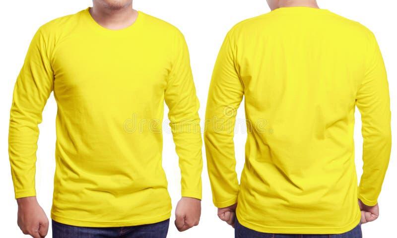 Yellow Long Sleeved Shirt Design Template Stock Photo