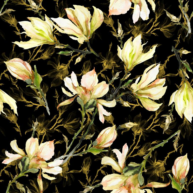 Yellow magnolia flowers on a twig on black; background. Seamless pattern. Watercolor painting. Hand drawn. Can be used for wallpaper, textile design stock images