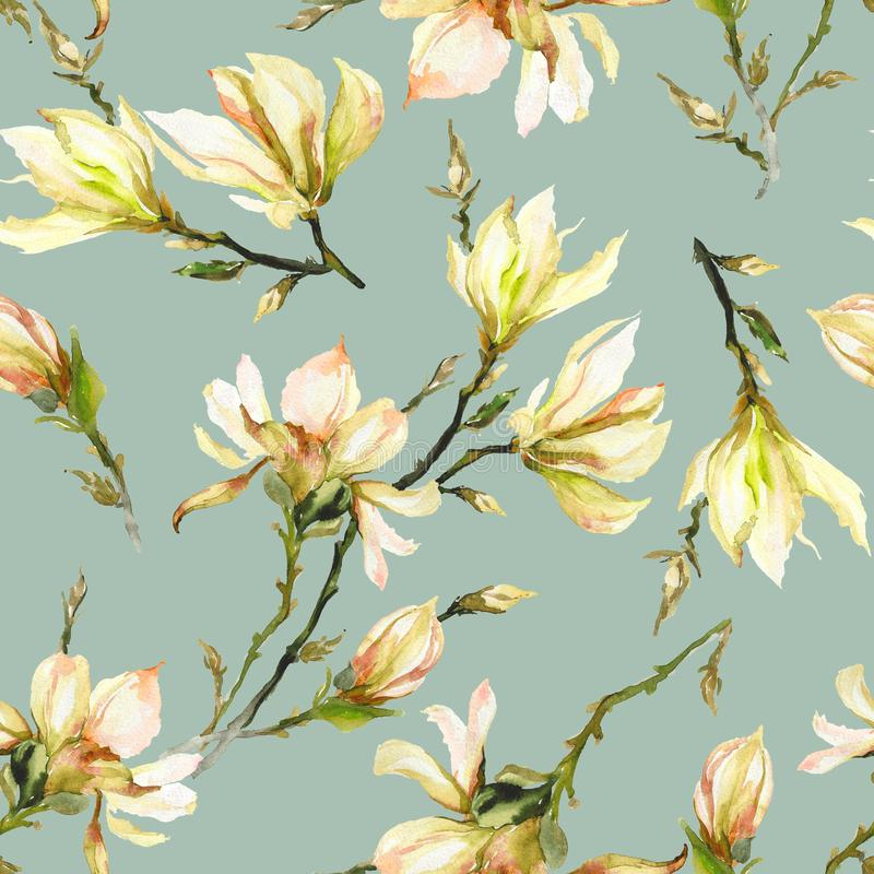 Yellow magnolia flowers on a twig on light green background. Seamless pattern. Watercolor painting. Hand drawn and colored. vector illustration