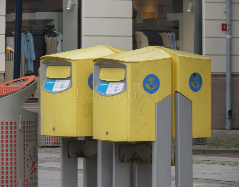 Yellow mail boxes in Goteburg stock photography