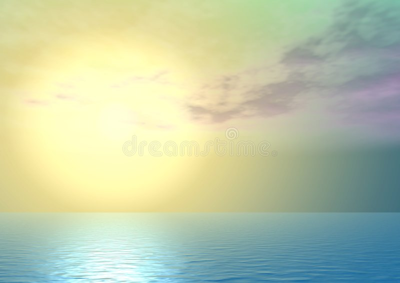 Yellow majestic sunset. Above ocean, with clouds a fantastic shade vector illustration