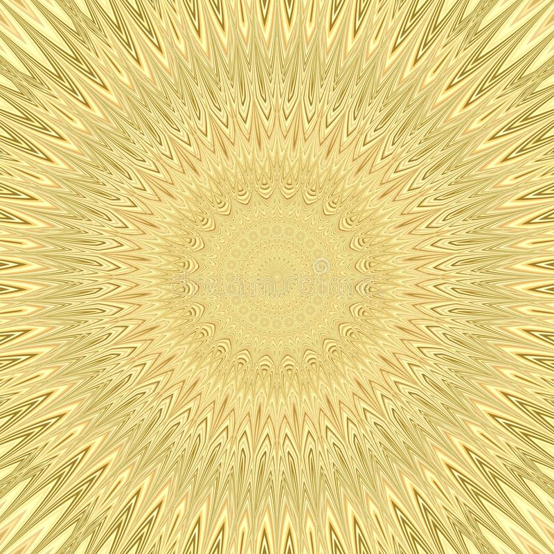 Yellow mandala sun explosion fractal background - circular vector pattern design from curved stars royalty free illustration