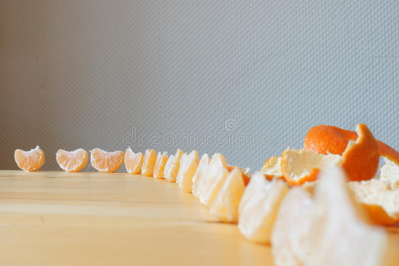 Yellow mandarins in a line royalty free stock photo