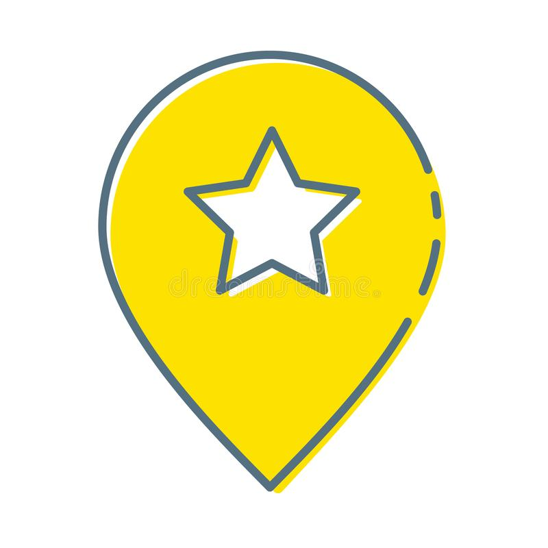 Yellow map pointer with star icon isolated on white background. Star favorite pin map icon. Map markers. Vector stock illustration