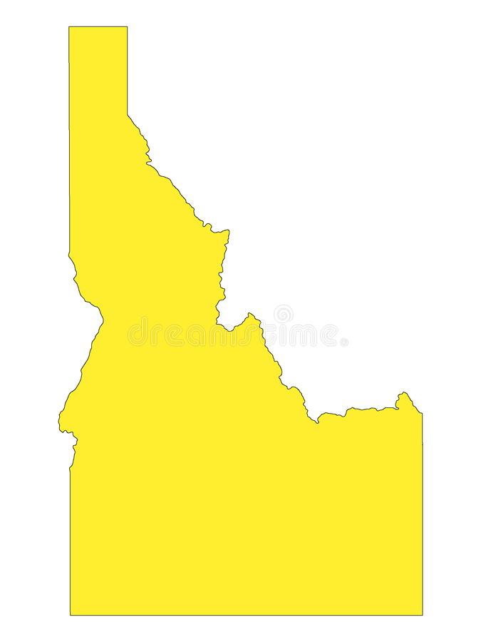 Yellow Map of US State of Idaho. Vector Illustration of the Yellow Map of US State of Idaho royalty free illustration