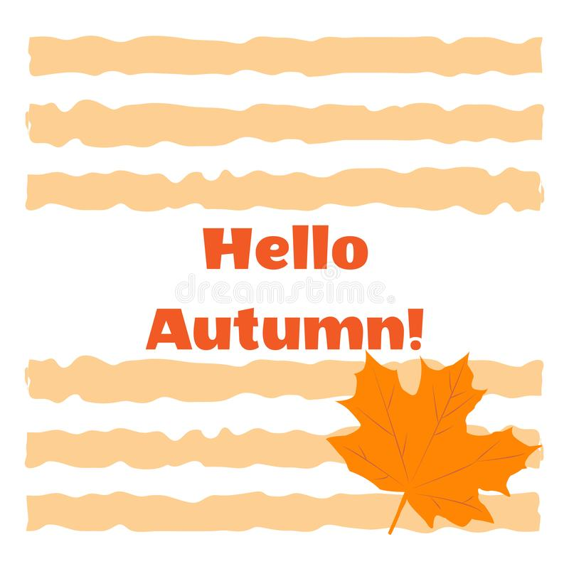 Yellow maple autumn leaf on a background of colored stripes. Hello Autumn concept stock illustration