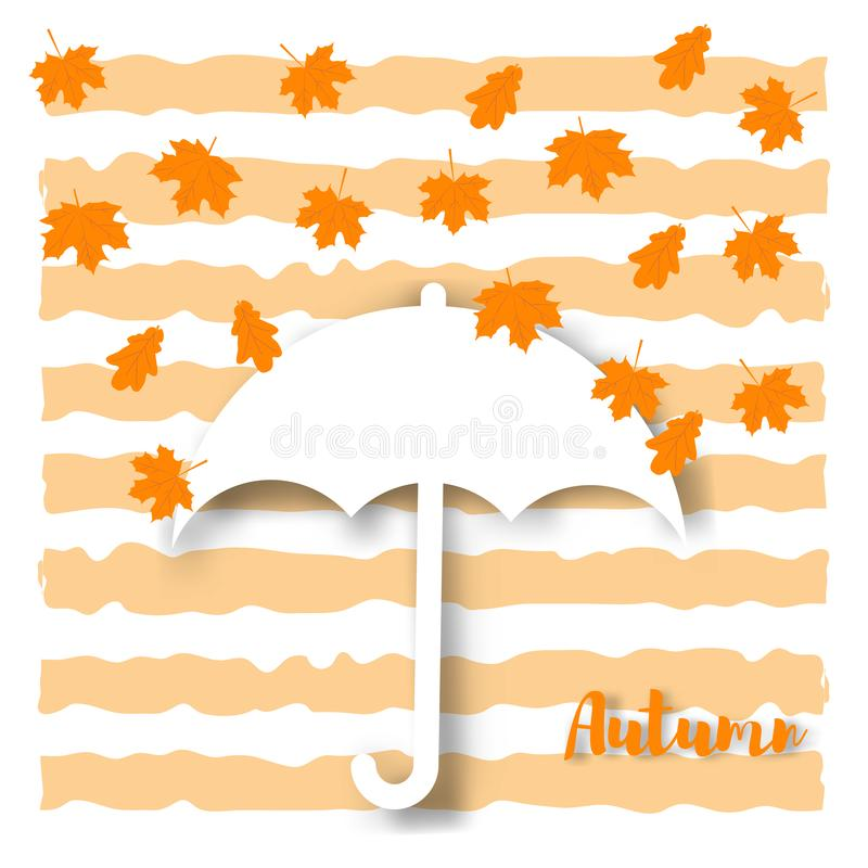 Yellow maple autumn leaf on a background of colored stripes. Hello Autumn concept royalty free illustration