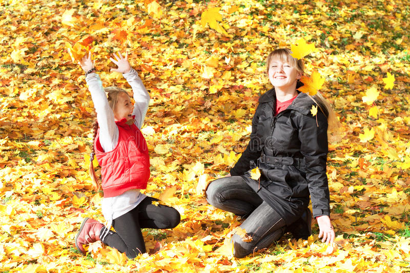 Download Yellow maple leaves stock photo. Image of women, family - 34453864