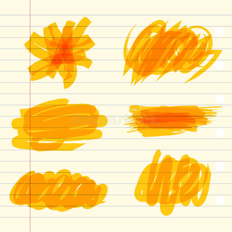 Yellow marker scribbles vector illustration