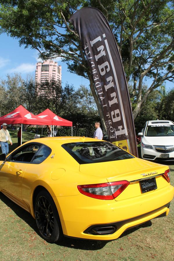 Yellow Maserati sportscar in south Florida royalty free stock photo