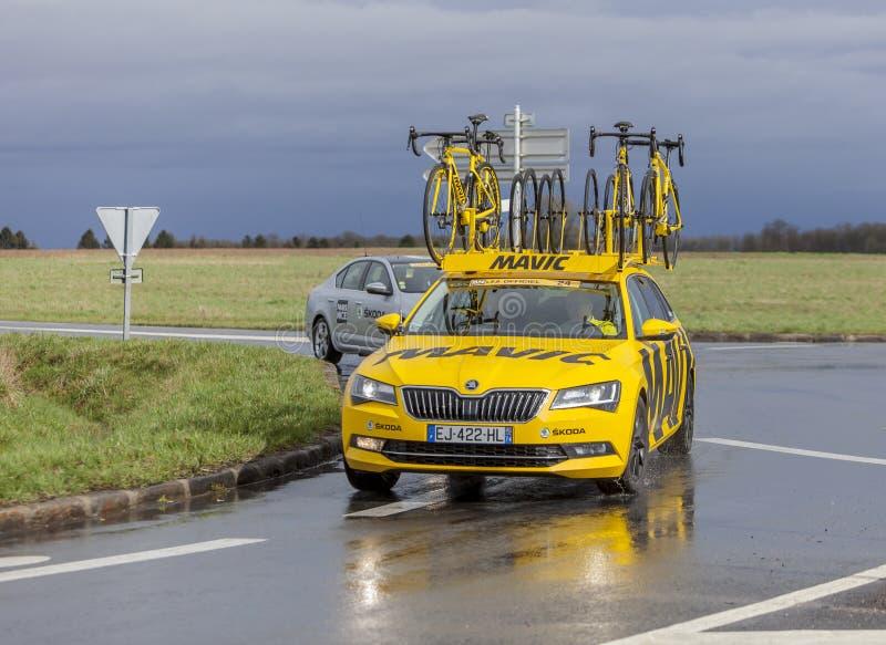 The Yellow Mavic Car - Paris-Nice 2017 stock image