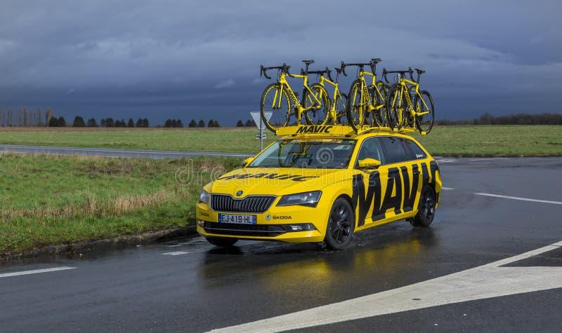 The Yellow Mavic Car - Paris-Nice 2017 stock photos
