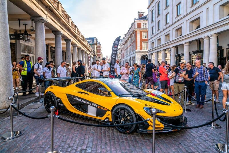 Yellow McLaren P1 GTR in London stock photography