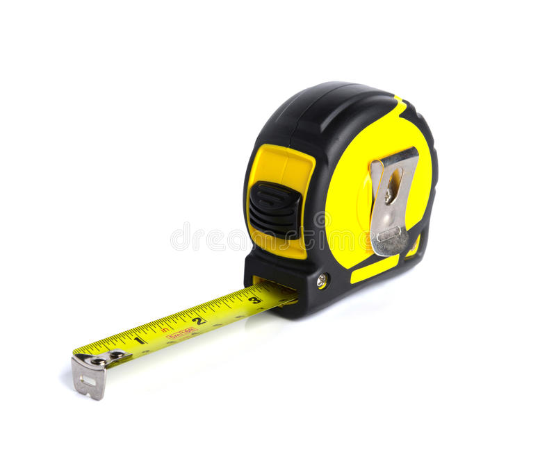 Yellow measure building tool on white background. A Yellow measure building tool on white background stock photography