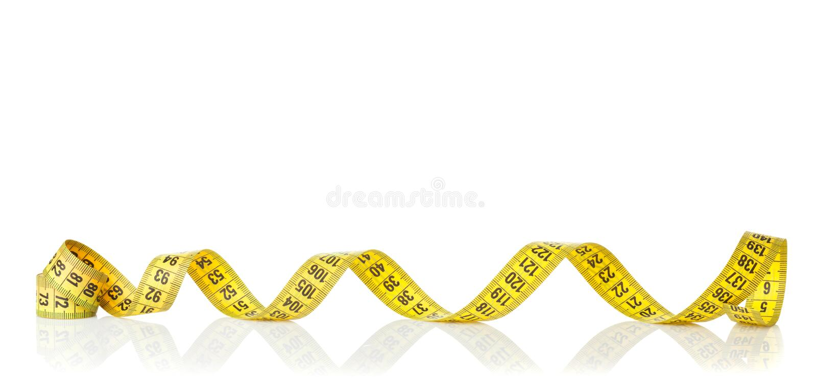 Yellow measure tape royalty free stock photo
