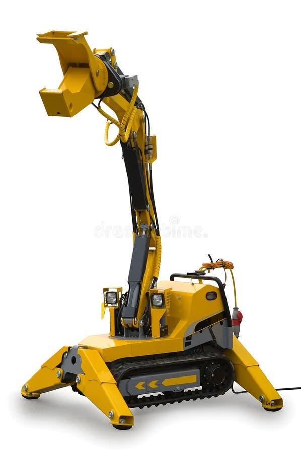 Yellow mechanical robotized mechanism royalty free stock image