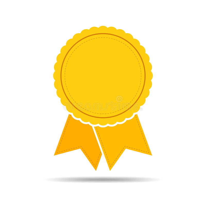 Yellow Medal Icon With Ribbon  Vector Illustration  Stock