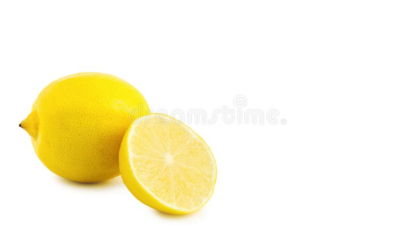 Yellow medical lemon isolated on a white background, health food. copy space, template. Yellow medical lemon isolated on a white background, health food. copy royalty free stock image