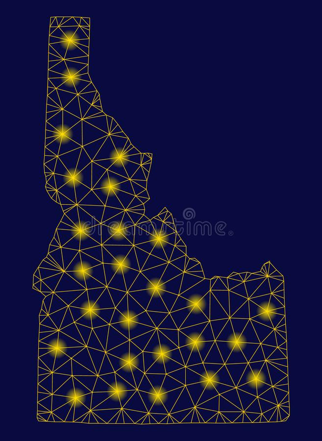 Yellow Mesh Wire Frame Idaho State Map with Flash Spots vector illustration